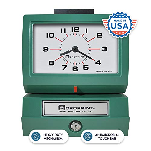 Acroprint 01-1070-411 Model 125NR4 Heavy-Duty Manual Print Time Recorder; Prints Month, Date, Hour and Minutes; Large, Easy-to-read ...